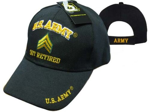 U.S Licensed TOPW Army SGT Retired Embroidered 3D Black Ball Cap Hat CAP560A