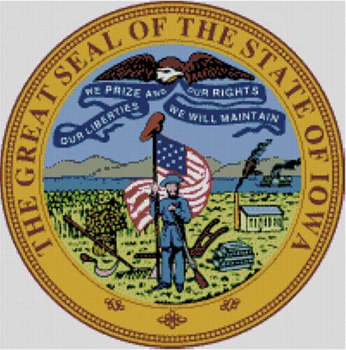 Badge Iowa Cross stitch chart State Seal Flag Emblem USA pattern