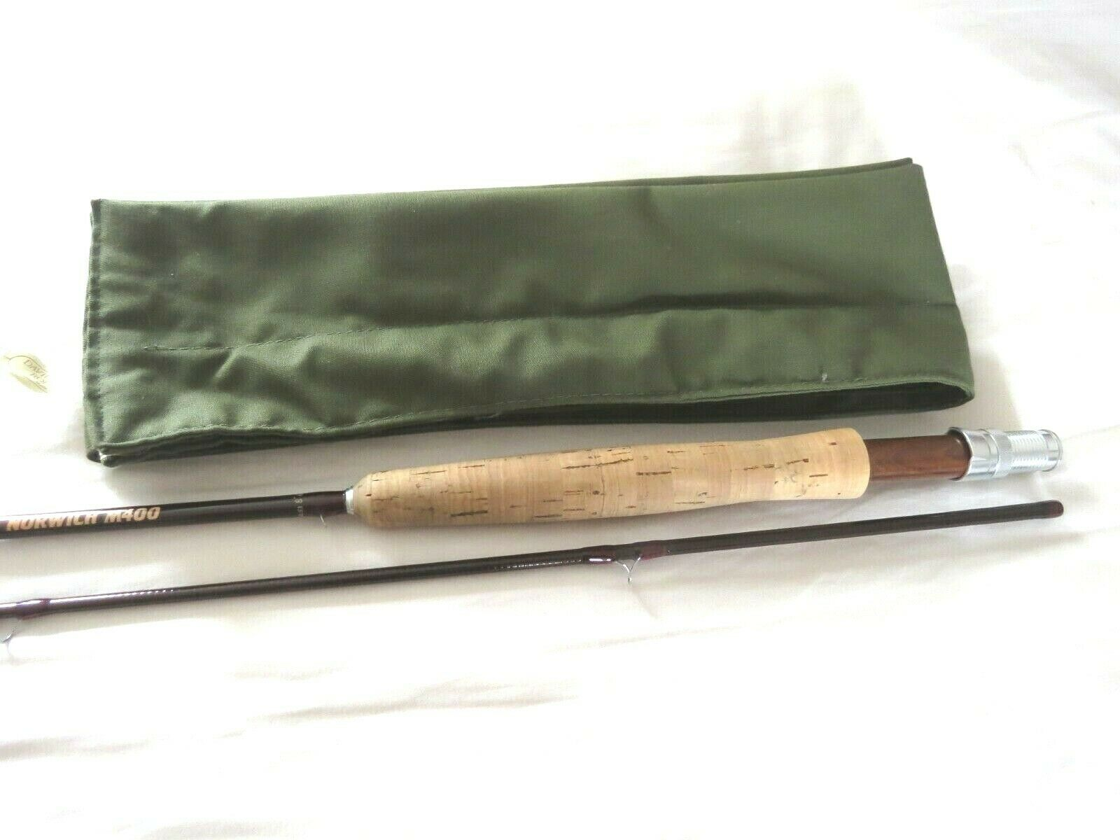 DAVID NORWICH  M400   8FT 6   6 WEIGHT TWO SECTION FLY ROD INITS BAG EXCELLENT