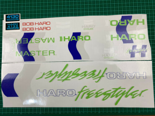 old school bmx decals stickers 85-86 haro master blue green grey white on clear