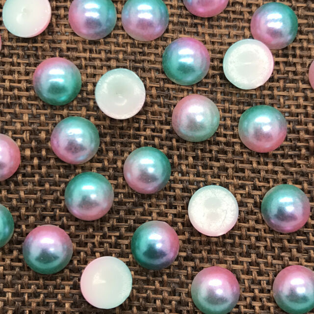 New 4mm 400pcs Half Round Two color Bead Flat Back Pearl Scrapbooking Craft #03