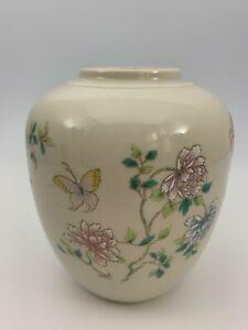 Vintage-Takahashi-Japan-Cho-Cho-San-Francisco-Floral-Vase-Flowers-Butterflies