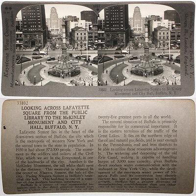 Keystone Stereoview Lafayette Sq, City Hall, Buffalo, NY From RARE 1200 Card Set