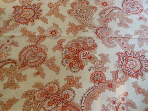 Antique French Jacobean Pailsey Cotton Fabric ~ Brick Red Lavender Apricot Brown