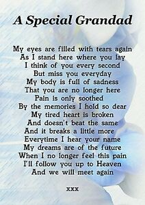 A Special Grandad Memorial Graveside Poem Card With Free Ground