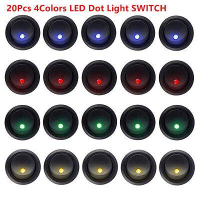 20pcs LED Dot Light 12V Car Boat Round ON//OFF Rocker Toggle SPST Switch 4 Colors