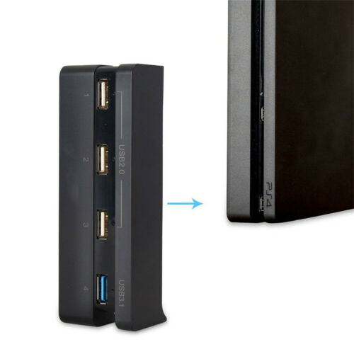High Speed 4 In 1 USB Hub Splitter Adapter for Sony PS4 PlayStation 4 Slim DEN