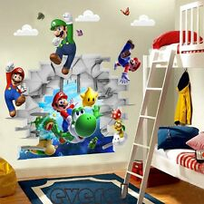 3D Cartoons Super Mario Bros Art Wall Stickers Decals Kids Room Decor Removable