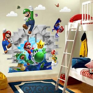 Image Is Loading 3D Cartoons Super Mario Bros Art Wall Stickers