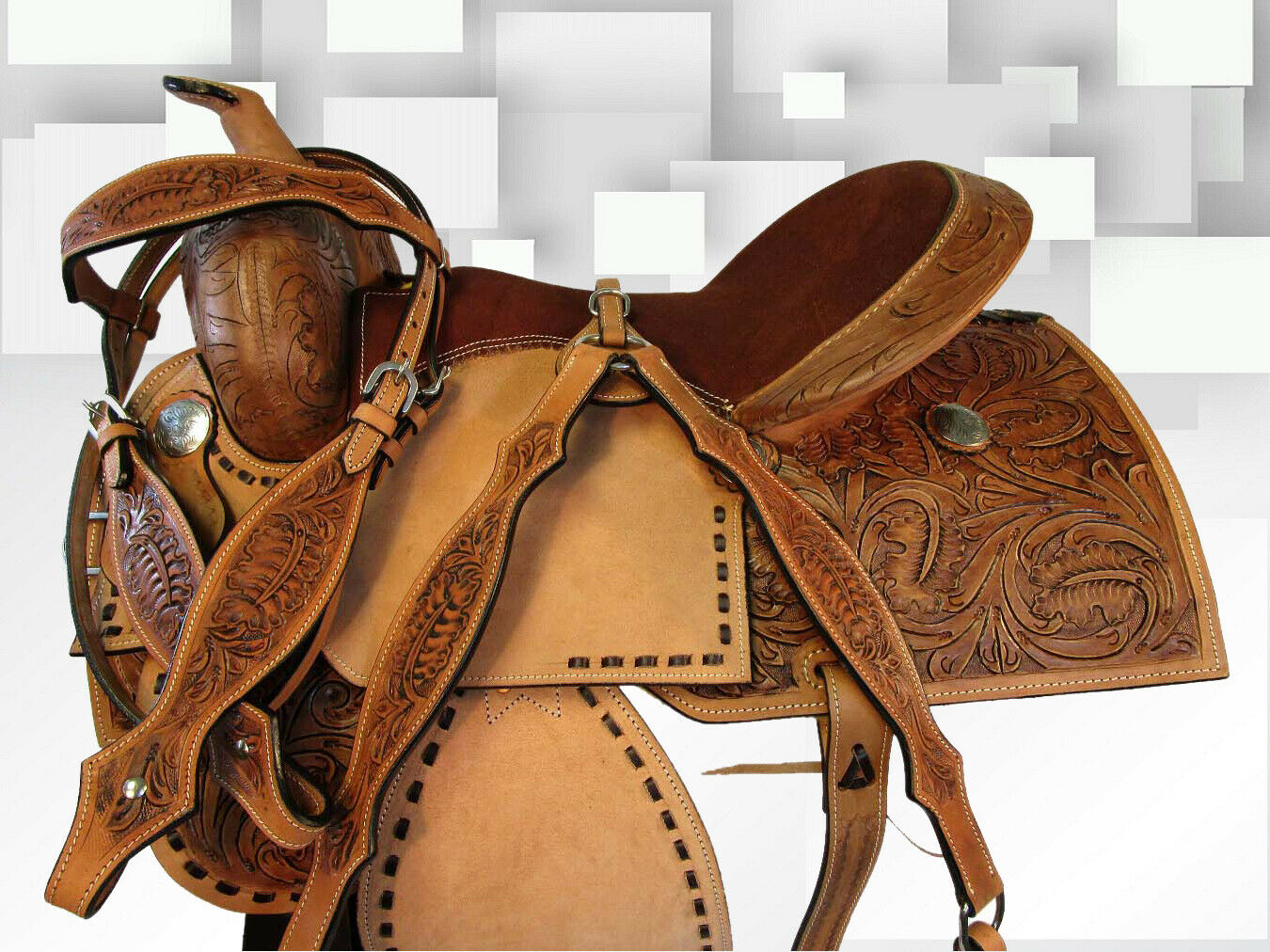 15 16 caballo occidental Gaited Trail placer barril Racing de cuero silla Tachuela Set