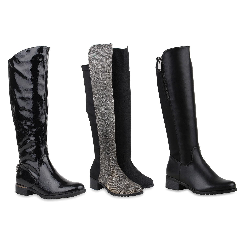 Gefütterte Damen Reiterstiefel Zipper Lederoptik Stiefel 812427 Schuhe