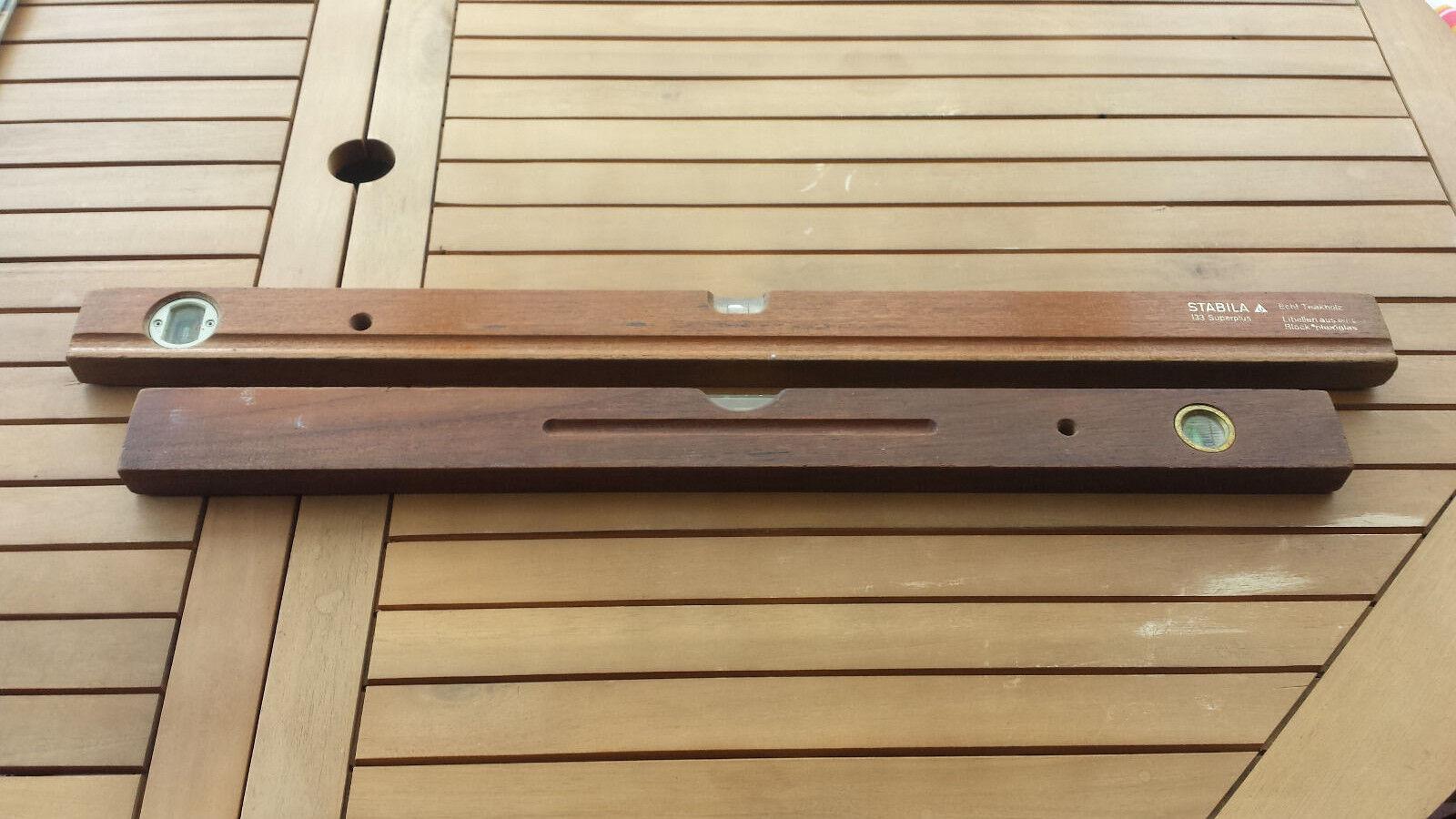 Zwei Holzwasserwaagen Teak   Stabila   Vintage   80 + 70 cm | Ausgewählte Materialien  | New Products  | Bunt,