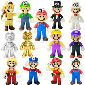 "Super Mario Odyssey Golden Mario Plastic Figure PVC Doll Toy 5/"""