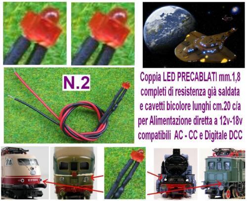 N.2 MICRO LED 12V e 18V mm.1,8 ROSSO per LUCI LOCOMOTORI DC e DCC SCALA N e HO