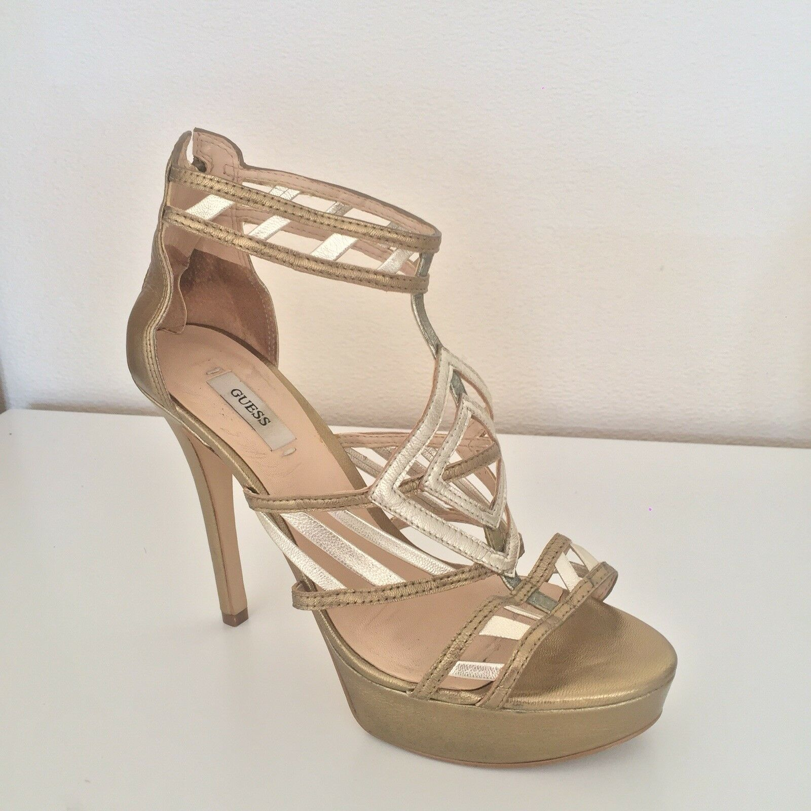 gold Metallic Guess Heal Sandals