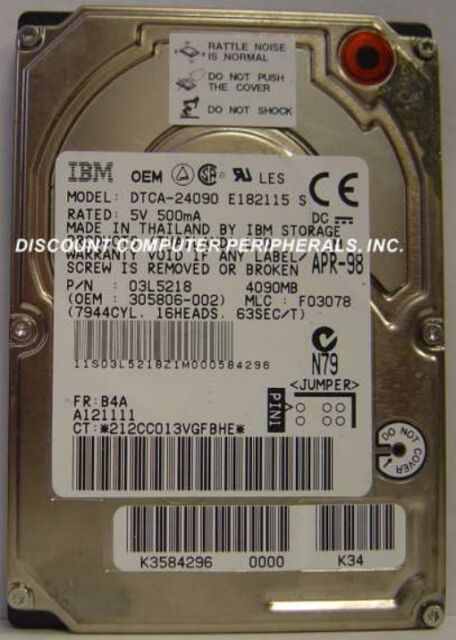 """IBM DTCA-24090 4GB 12MM 2.5"""" IDE Drive Tested Free USA Ship Our Drives Work"""