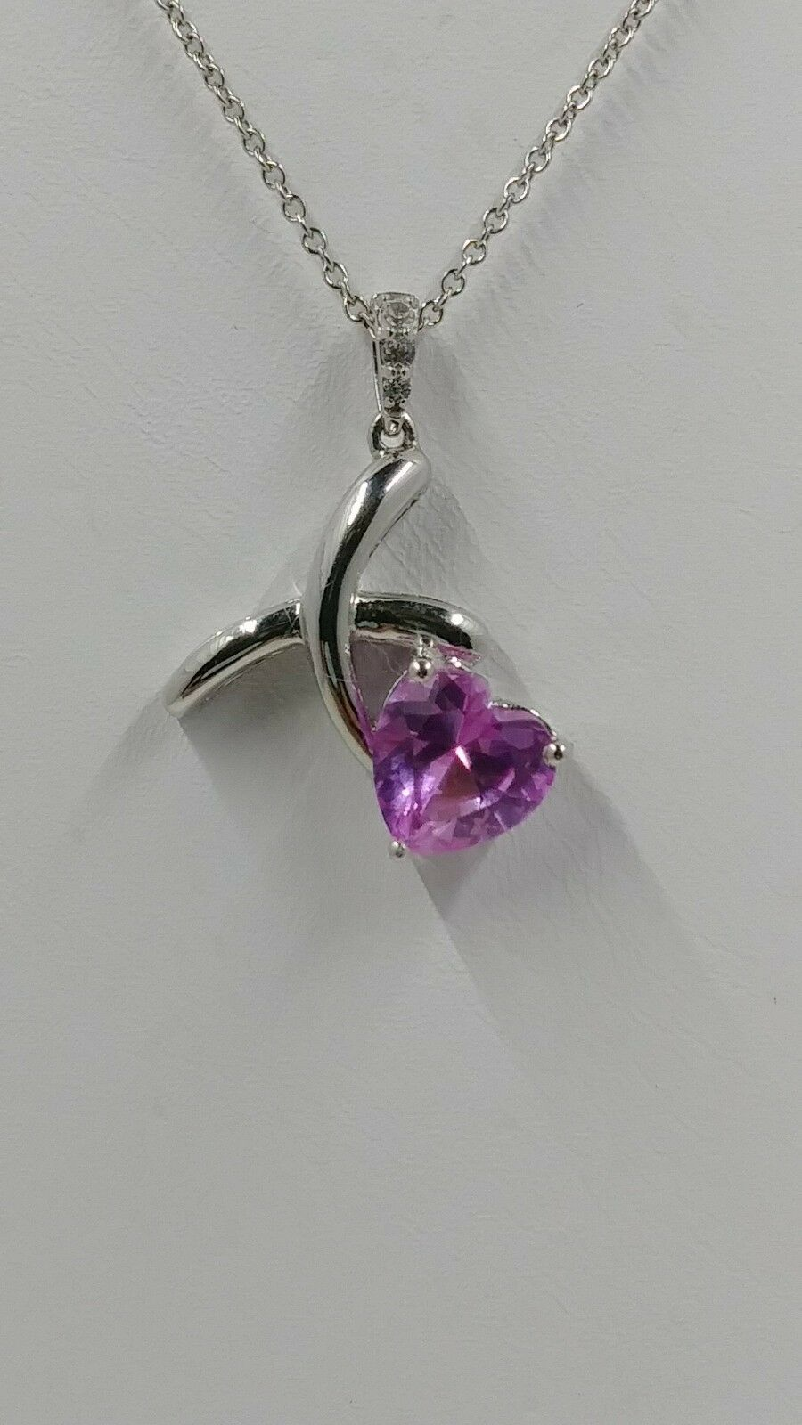 Samuel Aaron XO Heart Cut Lab Created Pink Sapphire Pendant and Chain, Sterling