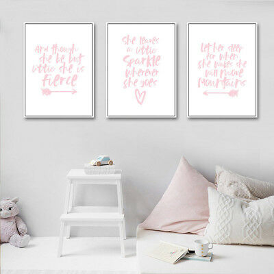 Posters And Prints Wall Art Canvas Watercolor Nordic Quote Girls Room Decoration