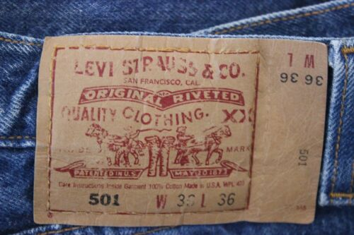 3636 LEVI'S 501 Homme Jeans Bleu Made in USA afficher le titre d'origine