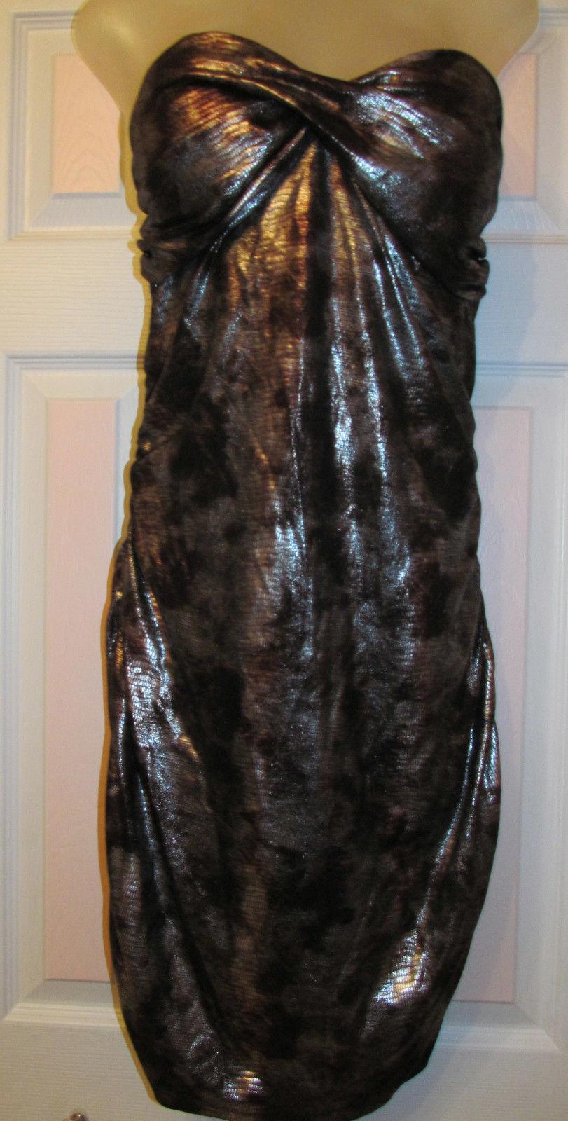210e1ff01854 BEBE TWIST FRONT METALLIC SNAKE ANIMAL EMBOSSED PRINT gold metallic dress L  NWT