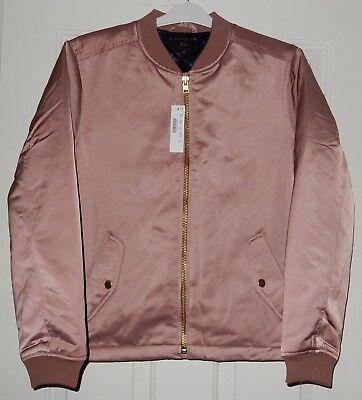 Women's J. Crew Satin Look Bomber Jacket W Zip Sides M MED Dusty Pink NEW | eBay
