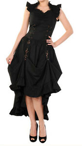 Banned-Apparel-Black-Party-Dress-Long-Gothic-Victorian-Steampunk-10-12-14-16