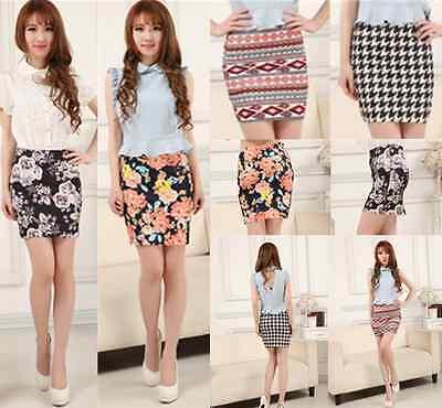 women sexy Mini Skirt High Waist Cotton Stretch Plain Solid Floral Pencil Short
