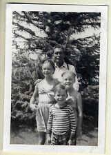 Cute Kids, Little Boy, Girls & Dad Posed, Vintage Photo