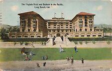 LONG BEACH CALIFORNIA THE VIRGINIA HOTEL~BATHERS IN PACIFIC OCEAN POSTCARD 1914