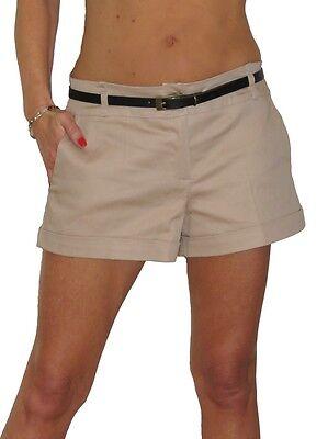 Ladies Shorts Sheen Hot Pants FREE Belt Beige Gold NEW 8-16
