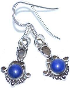 Lapislazuli-PLATA-925-PENDIENTE-PLATA-Estilo-Antiguo-Azul-con-piedra-preciosa
