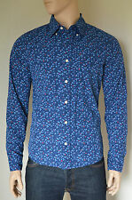 NEW Abercrombie & Fitch Classic Floral Print Button Down Shirt Blue & Red L