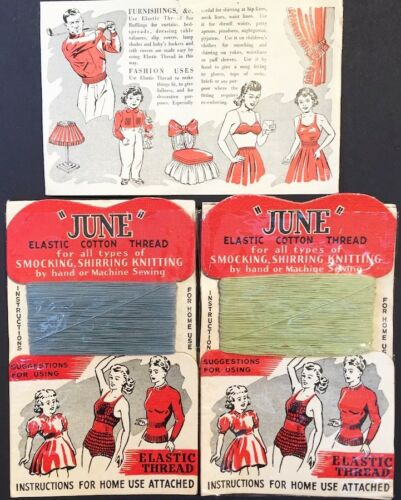 Evocative Mint Condition 1940s Elastic Thread Display Card Old Shop Stock
