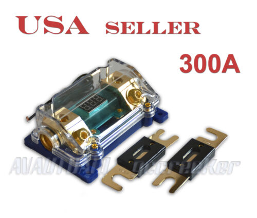 Digital Display ANL Fuse Holder Gold Plated 0 Gauge 2Free Fuse 300A FH61BG