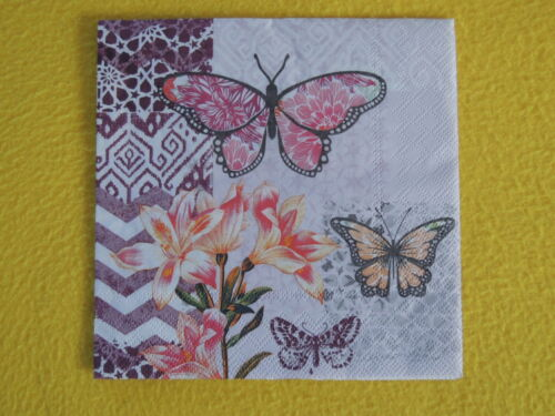 5 Servietten GARDEN OF JOY Muster Blumen Lilie Schmetterlinge Serviettentechnik