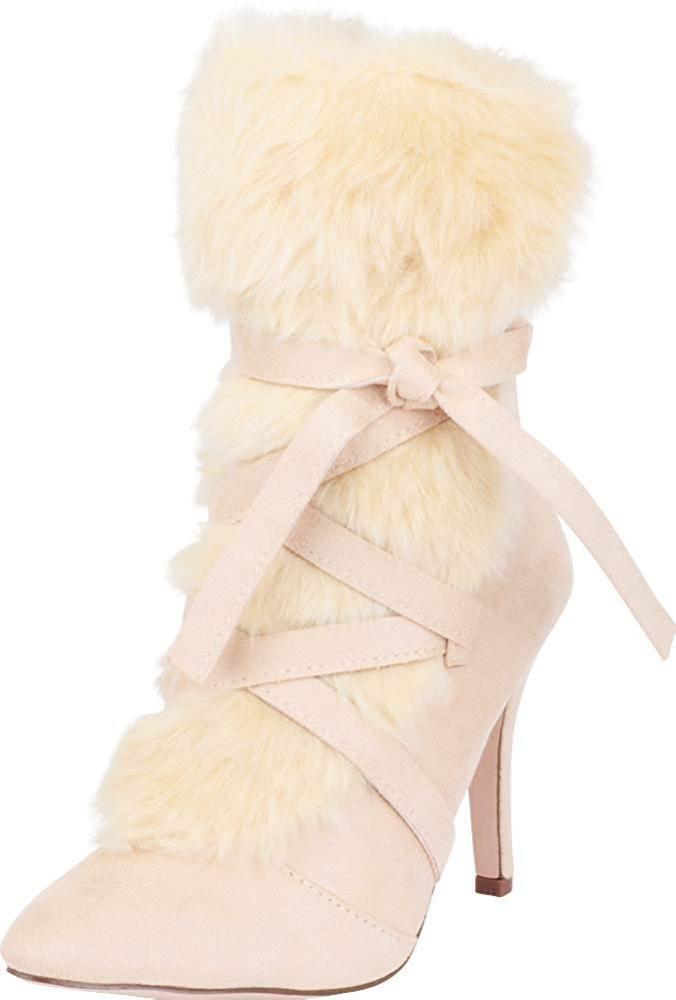 Cambridge Select Wouomo Pointed Toe Faux Fur Crisscross Strappy Stiletto...