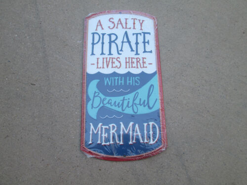 SALTY PIRATE LIVES HERE WITH MER Tackle Fishing SHIP Rapala Embossed METAL SIGN