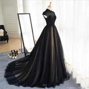 Image Is Loading 2018 Black Lace Tulle Wedding Dresses Cap Sleeve