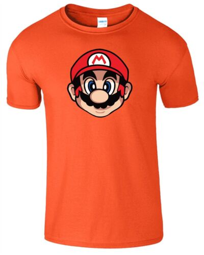 Super Mario Face Mens T-Shirt PC Gamer Gaming Present Ladies Gift Top Tee Tshirt