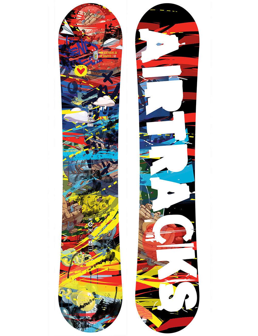 AIRTRACKS Snowboard Graffiti Zero Flat Freestyle Allmountain Wide 155 159 163 cm