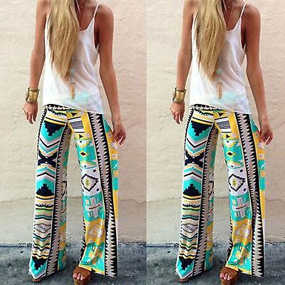 Womens Stripe Harem Aladdin Loose Wide Leg Gypsy Yoga Long Pants Palazzo Trouser