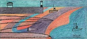 ABSTRACT HARBOUR LIGHTHOUSE & BOATS AT SEA Coloured Drawing ARTHUR MITSON 1987