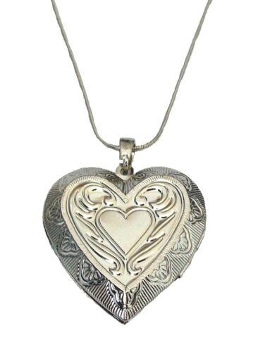 Plata Amor Corazón Abierto Collar Colgante Cadena Foto Medallón Mujeres Niñas Vestido Reino Unido