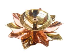 Brass Copper Kamal Lotus Flower Diwali Diya Puja Lamp Hindu Pooja