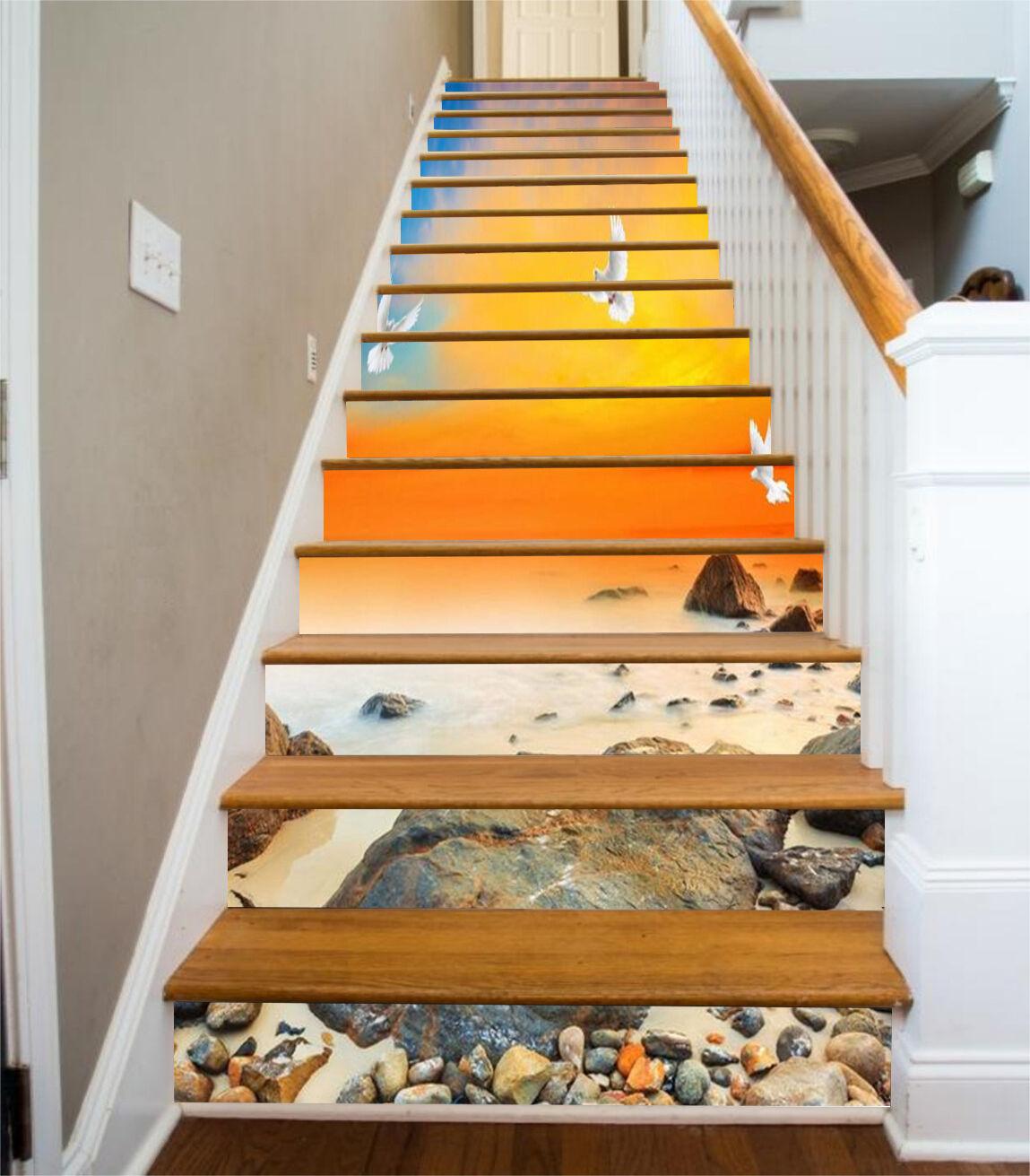3D Sky Beach bird 7 Stair Risers Decoration Photo Mural Vinyl Decal Wallpaper UK