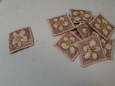 Pratico Set Di 10-ricamato Maroon Marrone Fiore Perline Card Making Motivi # 17r96- Avere Uno Stile Nazionale Unico