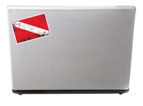 2 x 10cm plongée drapeau vinyle sticker autocollant plongeur plongée Ordinateur Portable iPad signe # 5422