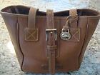 Vintage Dooney & Bourke Brown Leather Shoulder Bag Purse Tote Shopper