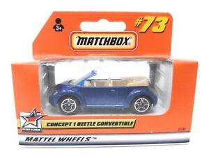 Matchbox-MBX-Superfast-1999-Nr-73-VW-New-Beetle-Cabrio-blau-Fensterrahmen