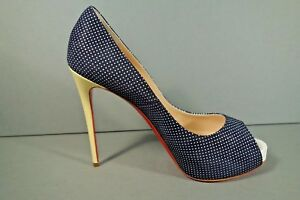 96f842751573 LOUBOUTIN 38 7.5 NEW VERY PRIVE Navy Polka Dot Platform Pumps Yellow ...